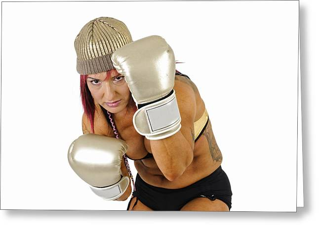 Kickboxers Greeting Cards - Female Kick Boxer 3 Greeting Card by Ilan Rosen