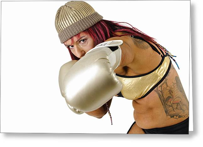 Kickboxers Greeting Cards - Female Kick Boxer 4 Greeting Card by Ilan Rosen