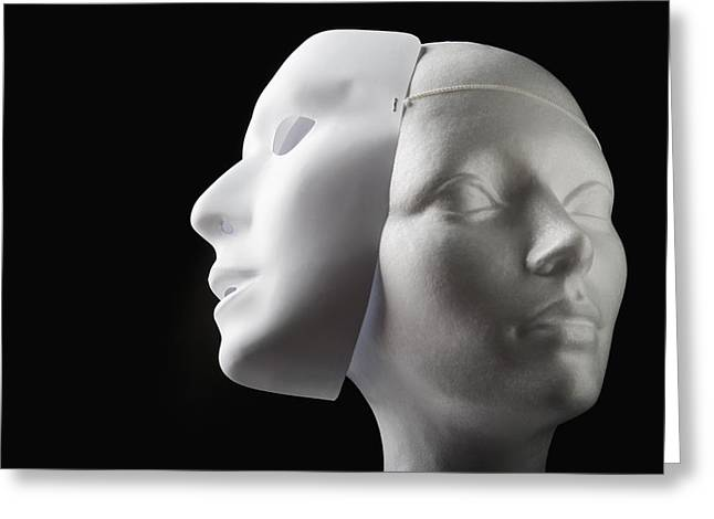 Visual Metaphor Greeting Cards - Female Mannequin And Mask Greeting Card by Kelly Redinger
