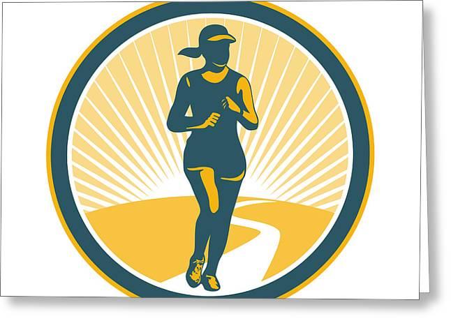Jogging Greeting Cards - Female Marathon Runner Circle Retro Greeting Card by Aloysius Patrimonio