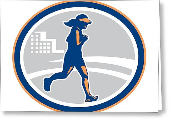 Jogging Greeting Cards - Female Marathon Runner City Retro Greeting Card by Aloysius Patrimonio
