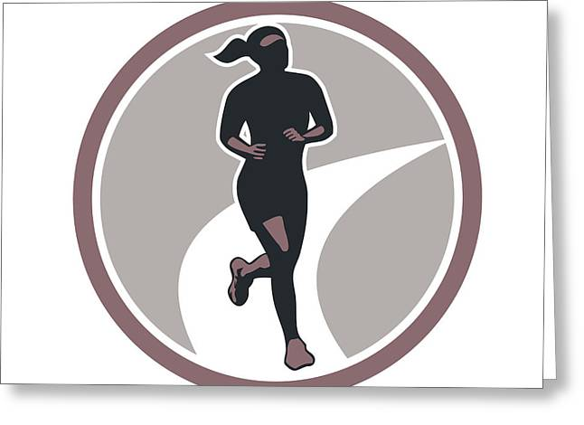 Jogging Greeting Cards - Female Marathon Runner Run Retro Greeting Card by Aloysius Patrimonio