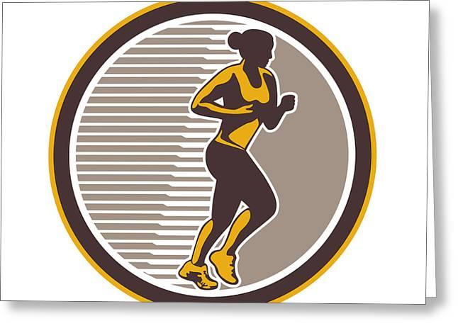 Jogging Greeting Cards - Female Marathon Runner Side View Retro Greeting Card by Aloysius Patrimonio