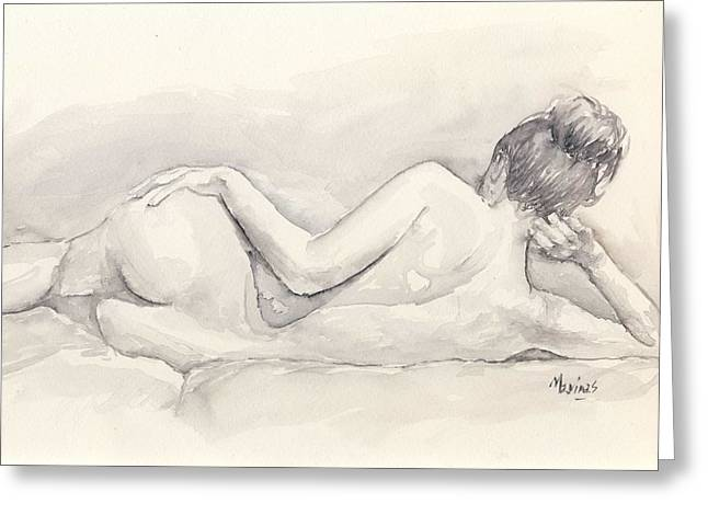 Nude Monroe Greeting Cards - Nude Model - Watercolor 02 Greeting Card by Marina Sotiriou