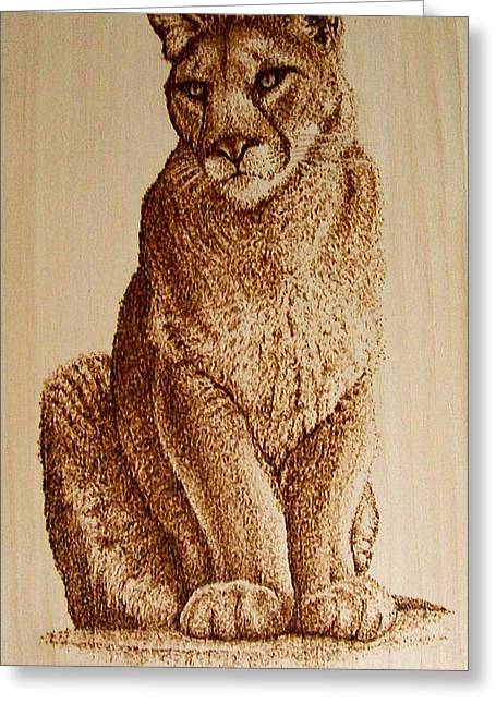 Lions Pyrography Greeting Cards - Female Mountain Lion Greeting Card by Cara Jordan