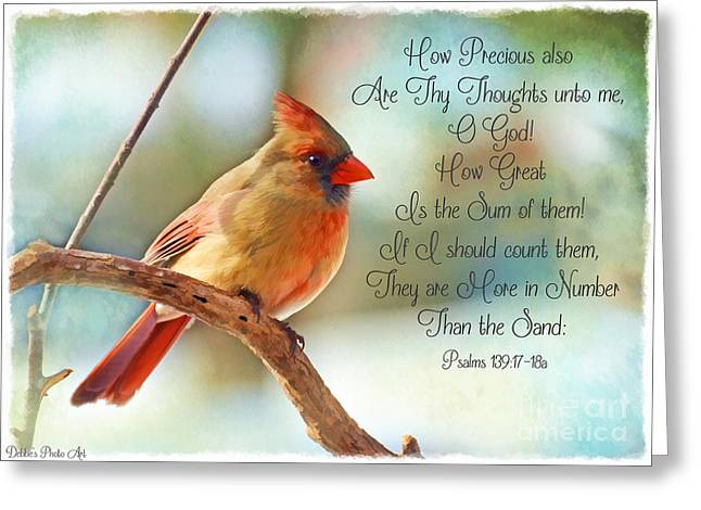 Northern Cardinal Photo Greeting Cards - Female Northern Cardinal with verse Greeting Card by Debbie Portwood