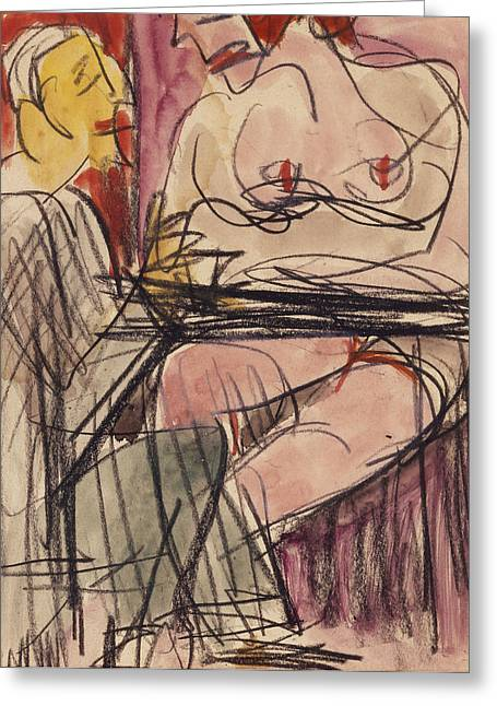 Conversing Paintings Greeting Cards - Female Nude and Man Sitting at a Table Greeting Card by Ernst Ludwig Kirchner
