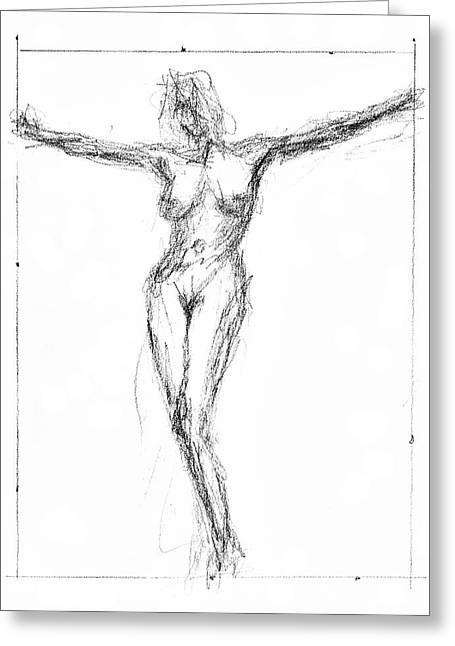 Crucifix Art Drawings Greeting Cards - Female Nude In The Pose As Jesus Christ Crucifix  - Pencil Drawing Greeting Card by Nenad  Cerovic