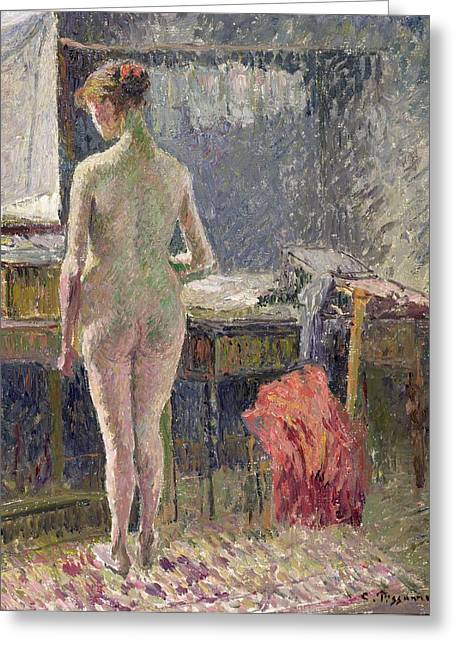 Camille Pissarro Greeting Cards - Female Nude seen from the Back Greeting Card by Camille Pissarro