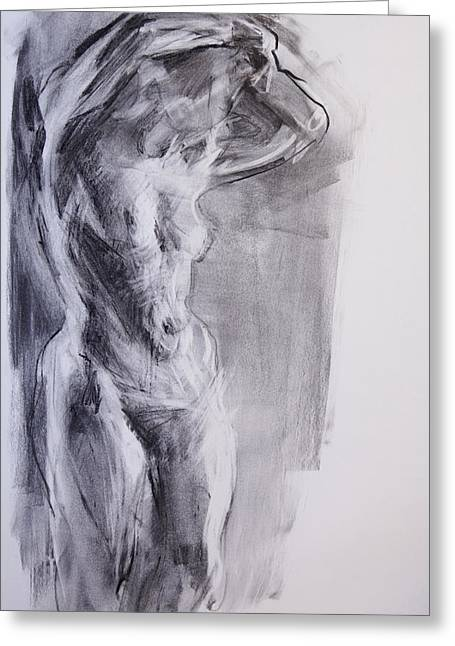 Gray Pastels Greeting Cards - Female Nude Two Greeting Card by Janet Goddard