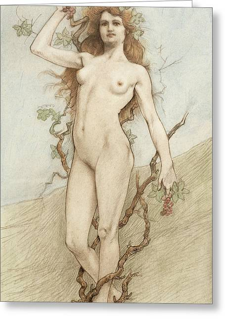 Bare Trees Drawings Greeting Cards - Female nude with grapes Greeting Card by Armand Rassenfosse