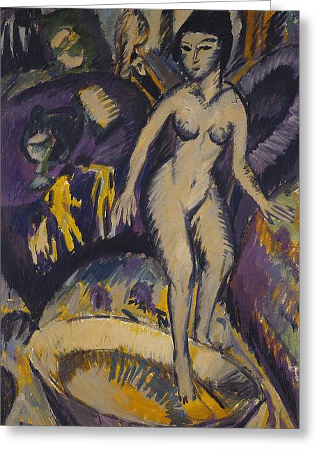 Female Nude With Hot Tub Greeting Cards - Female Nude with Hot Tub Greeting Card by Ernst Ludwig Kirchner