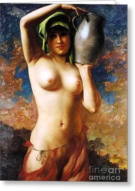 Water Pitcher Greeting Cards - Female nude with water Pitcher Greeting Card by Pg Reproductions
