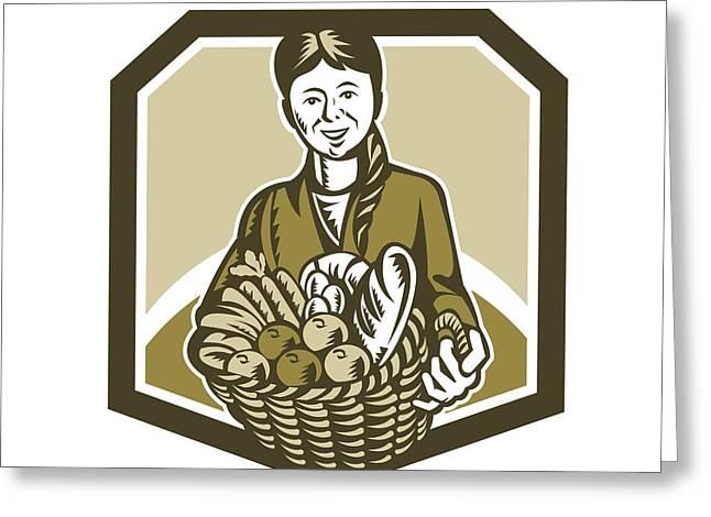 Female Organic Farmer Crop Harvest Woodcut Greeting Card by Aloysius Patrimonio