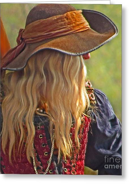 Buccaneer Greeting Cards - Female Pirate Greeting Card by Tom Gari Gallery-Three-Photography
