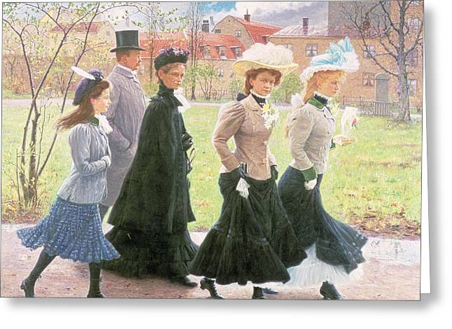 Edwardian Greeting Cards - Female Pupils For Confirmation Greeting Card by Tryggelin