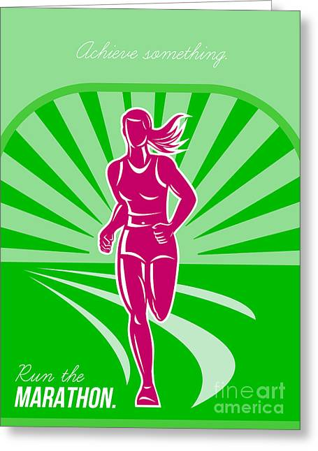 Jogging Greeting Cards - Female Run Marathon Retro Poster Greeting Card by Aloysius Patrimonio
