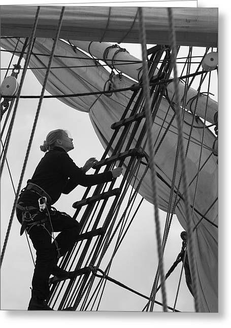 Wooden Ship Greeting Cards - Female sailor in the rigging - monochrome Greeting Card by Intensivelight