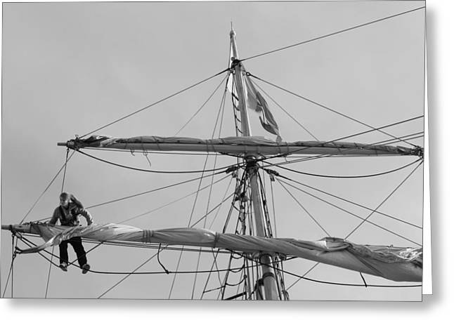 Sailing Ship Greeting Cards - Female sailor working in the rigging Greeting Card by Intensivelight