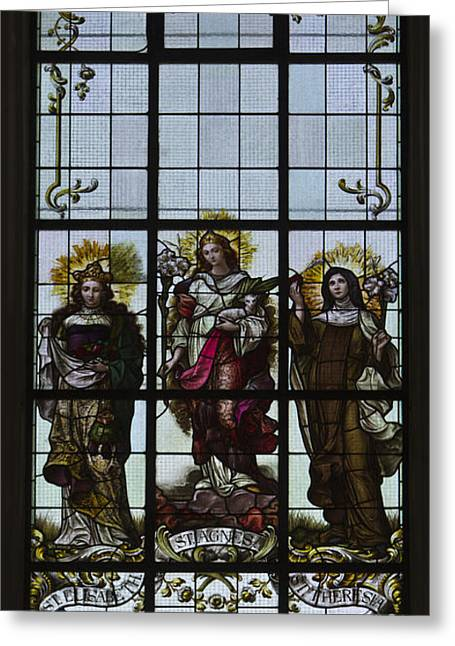 St Elizabeth Greeting Cards - Female Saints - Stained Glass Window Greeting Card by Robert Murray