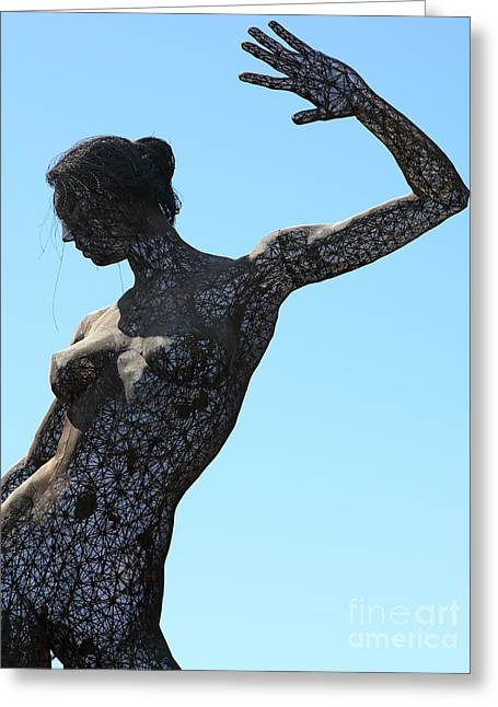 Yerba Buena Greeting Cards - Female Sculpture On San Francisco Treasure Island 5D25339 Greeting Card by Wingsdomain Art and Photography