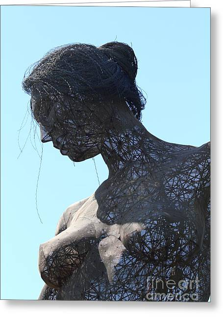 Dance Sculpture Greeting Cards - Female Sculpture On San Francisco Treasure Island 7D25442 Greeting Card by Wingsdomain Art and Photography