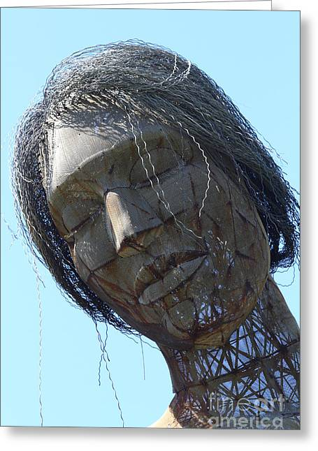 Statue Portrait Photographs Greeting Cards - Female Sculpture On San Francisco Treasure Island 7D25445 Greeting Card by Wingsdomain Art and Photography
