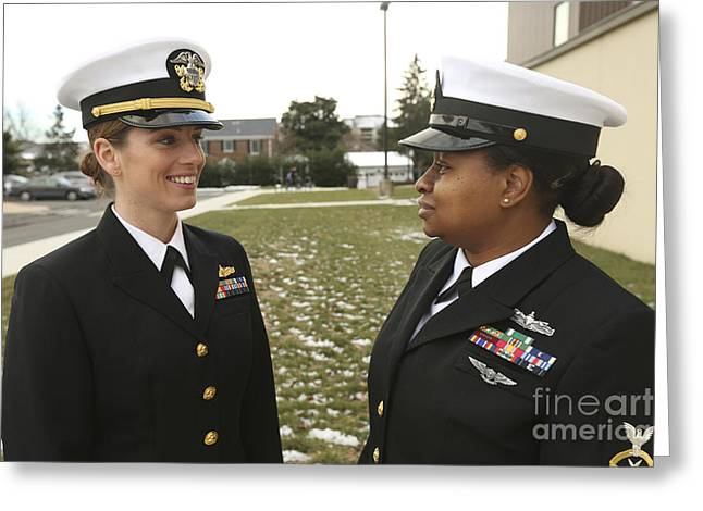 Navy Dress Greeting Cards - Female Service Members Model Greeting Card by Stocktrek Images