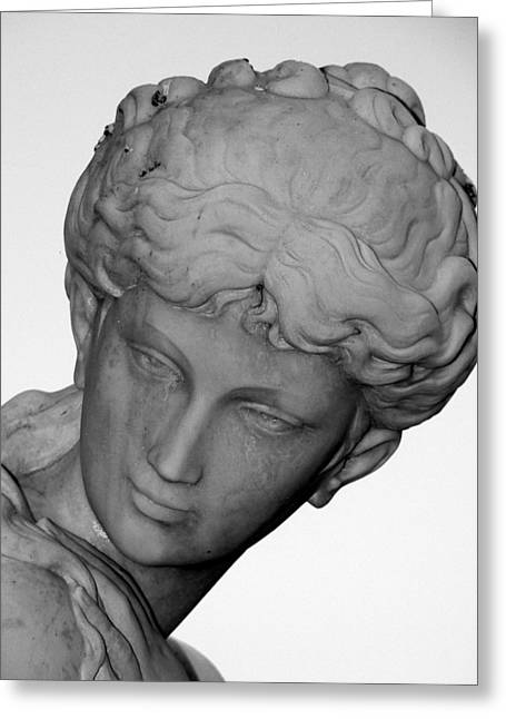 Nude Woman Torso Sculpture Greeting Cards - Female Statue Head  Greeting Card by Jeff Lowe