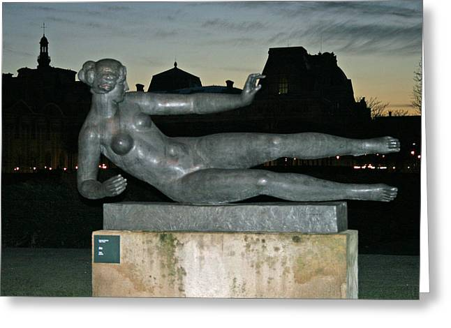 The Tuileries Gardens Greeting Cards - Female statue in the Tuileries Garden Greeting Card by Linda Mans