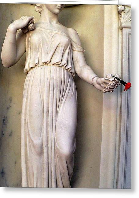 Nude Woman Torso Sculpture Greeting Cards - Female Statue With Red Flower Greeting Card by Jeff Lowe