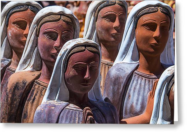 Clay Sculpture Greeting Cards - Female Statues Greeting Card by Garry Gay