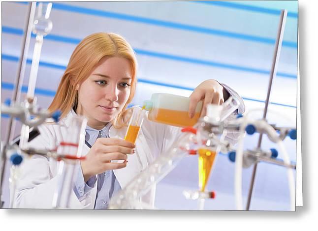 Female Student In Lab Greeting Card by Wladimir Bulgar
