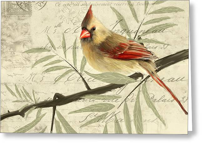 Male Northern Cardinal Greeting Cards - Female Symphony Greeting Card by Lourry Legarde
