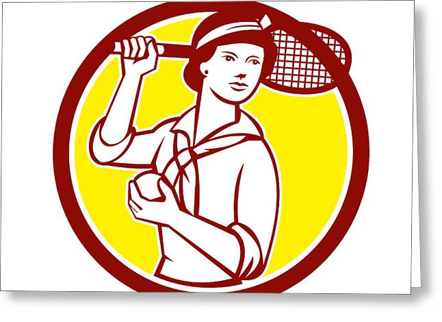 Racquet Digital Art Greeting Cards - Female Tennis Player Racquet Vintage Circle Retro Greeting Card by Aloysius Patrimonio