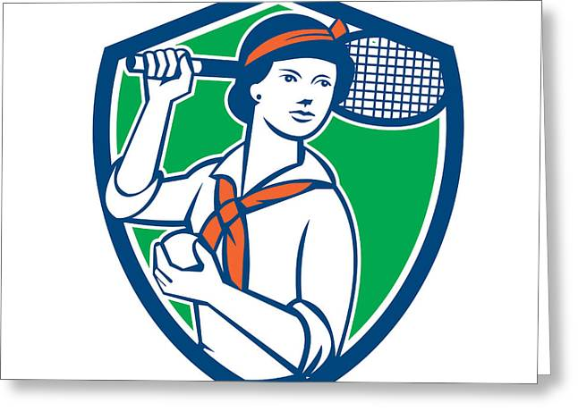Racquet Digital Art Greeting Cards - Female Tennis Player Racquet Vintage Shield Retro Greeting Card by Aloysius Patrimonio