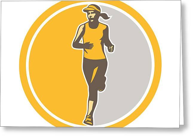 Runner Greeting Cards - Female Triathlete Marathon Runner Circle Retro Greeting Card by Aloysius Patrimonio
