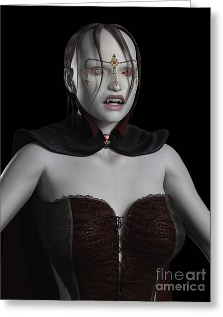 Female Legends Digital Art Greeting Cards - Female Vampire Portrait Greeting Card by Fairy Fantasies
