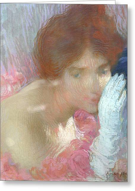 Off-the-shoulder Greeting Cards - Femme au Gant Greeting Card by Edmond-Francois Aman-Jean