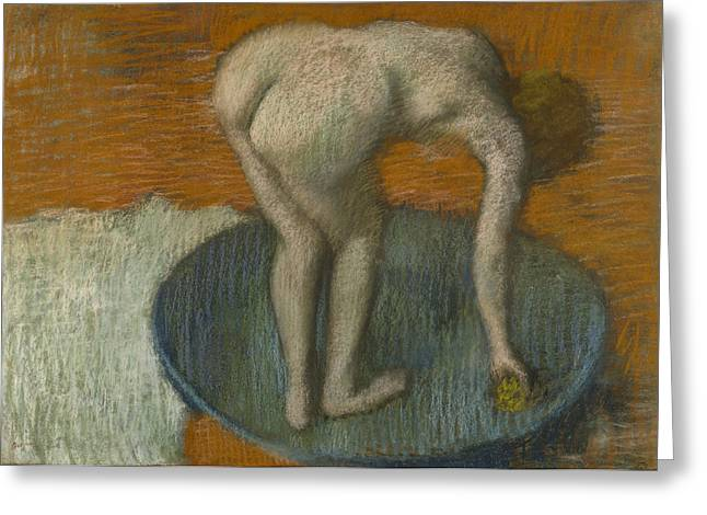 Feminine Pastels Greeting Cards - Femme Au Tub Greeting Card by Edgar Degas
