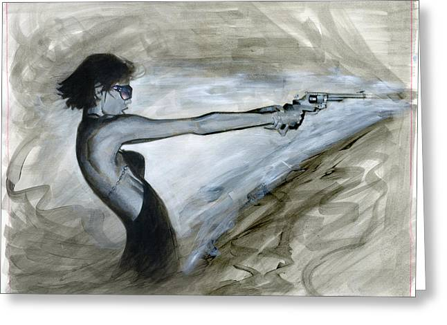 Bad Ass Paintings Greeting Cards - Femme Fatale Greeting Card by Luis  Navarro