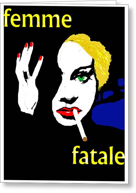 1950s Movies Greeting Cards - Femme Fatale Greeting Card by Paul Sutcliffe