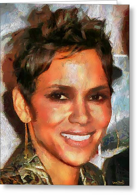 Halle Berry Greeting Cards - Femme Halle Greeting Card by Wayne Pascall