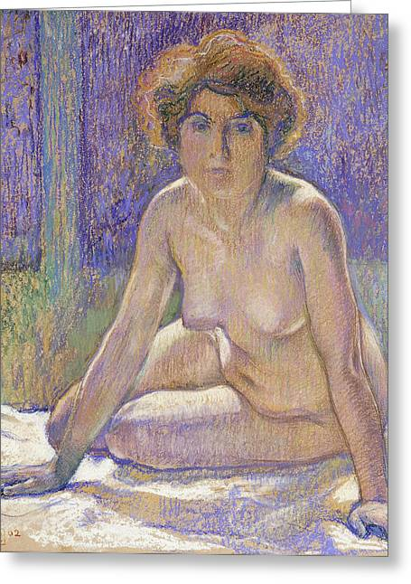 Curves Pastels Greeting Cards - Femme Nue Assise Greeting Card by Theo Van Rysselberghe