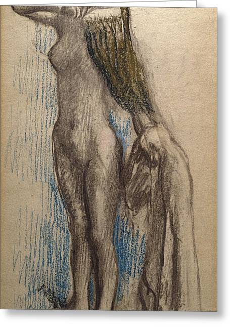 Full Body Drawings Greeting Cards - Femme Se Coiffant Greeting Card by Edgar Degas