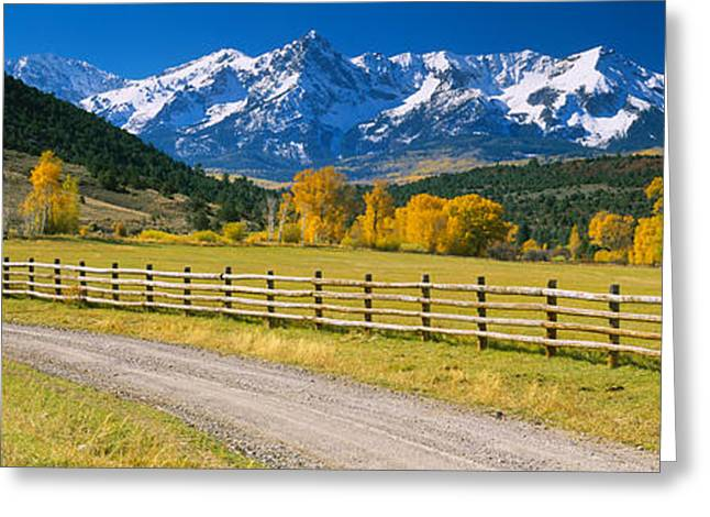Mountain Greeting Cards - Fence Along A Road, Sneffels Range Greeting Card by Panoramic Images