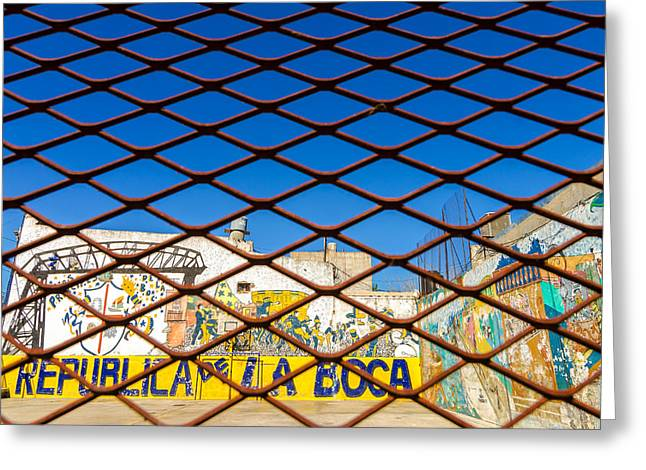 Latino Culture Greeting Cards - Fence and Graffiti Greeting Card by Jess Kraft