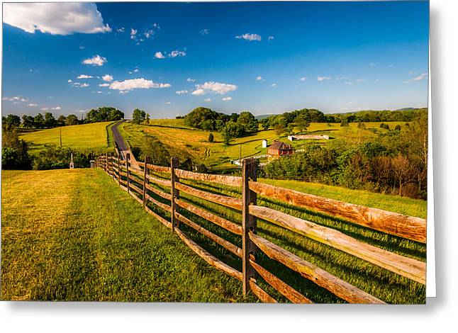 Civil Pastels Greeting Cards - Fence and view of rolling hills and farmland in Antietam National Battlefield MD Greeting Card by Jon Bilous