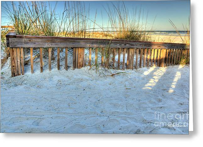 Sand Fences Greeting Cards - Fence at the Beach in St Augustine Florida Greeting Card by Michelle Wiarda