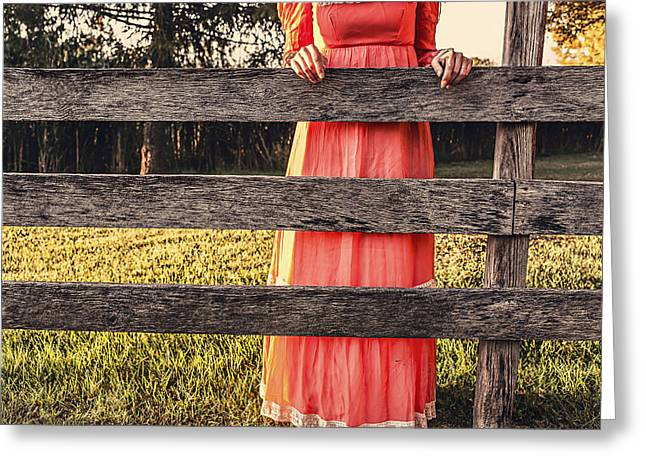 Old Dresses Greeting Cards - Fence Gossip Greeting Card by Ryan McGuire